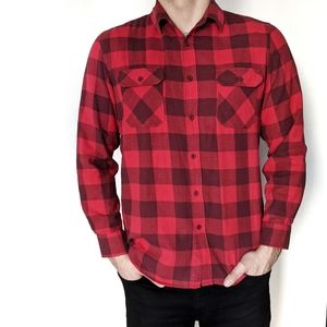 Men's Red Plaid Button Down Shirt